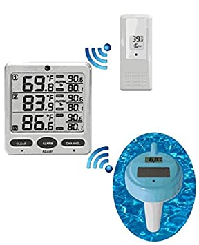 Ambient Weather WS-20 Wireless 8-Channel Floating Pool and Spa Thermometer with Outdoor Remote Thermometer