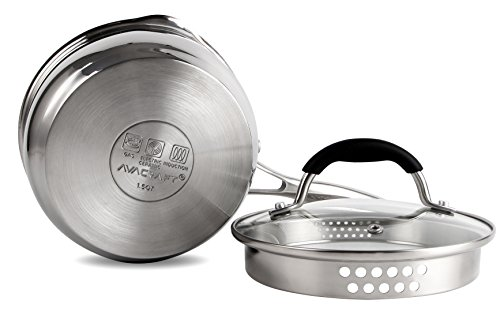AVACRAFT-Stainless-Steel-Saucepan-with-Glass-Lid-Strainer-Lid-Two-Side-Spouts-for-Easy-Pour-with-Ergonomic-Handle-Multipurpose-Sauce-Pan-with-Lid-Sauce-Pot-Tri-Ply-Capsule-Bottom-15-Quart