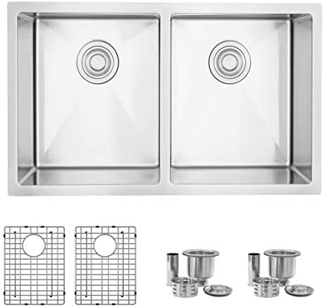 30 L x 18 W Stainless Steel Double Bowl Undermount 16G Kitchen Sink with Grids and Strainers, S-304XG