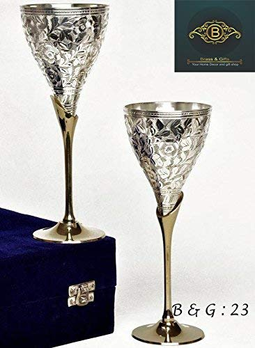 JAIN ART VILLA Engraved Silver Plated Pure Brass Premium Goblet Champagne Flutes Coupes Wine Glass Set (Pack of -