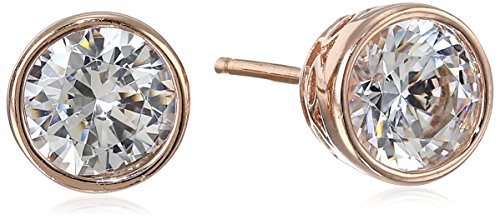 2 Side Metal (Rose-Gold-Plated Sterling Silver Swarovski Zirconia Bezel-Set Stud Earrings (2 cttw))