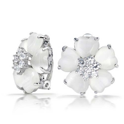 White Cats Eye Flower Shaped CZ Button Style Clip On Earrings Or Women Non Pierced Ears Silver Plated ()