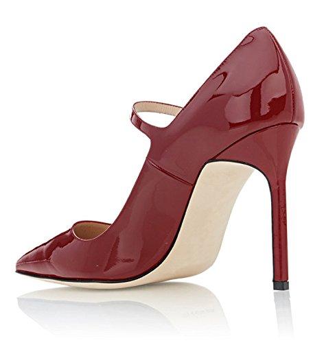 Scarpa Alto Con Sammitop Punta Tacco Aguzza Mary Cinturino Bordeaux Caviglia Jane Donne Pompe Della W0zw5AqwIT