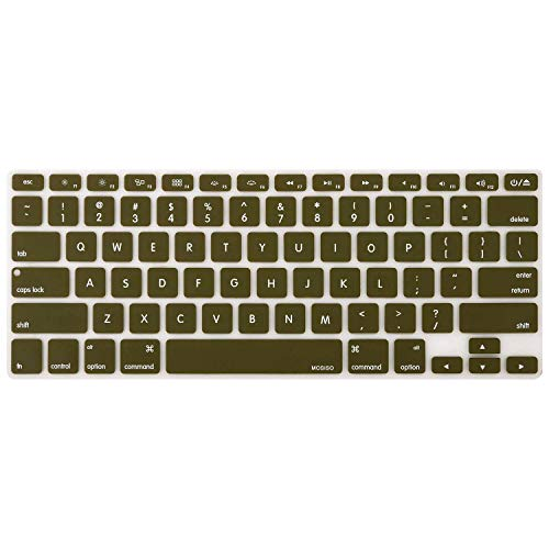 MOSISO Keyboard Cover Silicone Skin Compatible MacBook Pro 13 Inch, 15 Inch (with or Without Retina Display, 2015 or Older Version) MacBook Air 13 Inch, Capulet Olive
