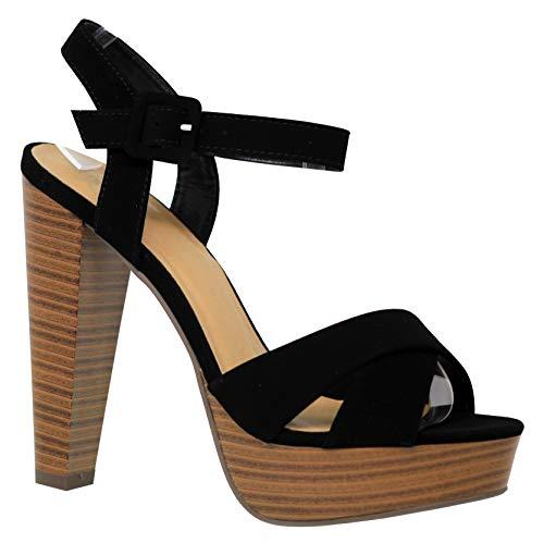 MVE Shoes Women's Open Toe Criss Cross High Platform Sandals, Rancho Black NBPU 7