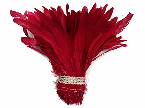Moonlight Feather | Rooster Feathers - 1/2 Yard - Red Rooster Coque Tails Wholesale Feathers (Bulk) Headdress, Costume, Halloween (Bulk Dance Costumes)