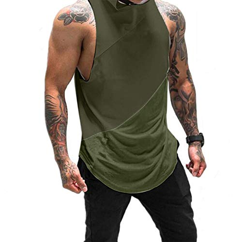 Mens Sport Fitness Hoodie Sleeveless Singlet T-Shirt,Muscle Bodybuilding Athletic Workout Gym Arc Hem Top Vest Tank Army Green
