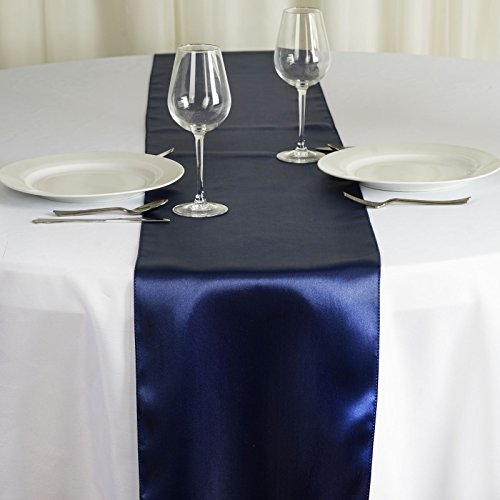 BalsaCircle 10 pcs 12 x 108 inch Navy Blue Satin Table Runners Wedding Table Top Party Supplies Reception Linens Decorations]()