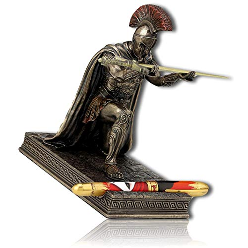 Custom Statues USA Greek Roman Rome Chief Commander Lieutenant General Empire Kneeling Holding A Sword Pen Holder Statue Figurine Sculpture w/Letter Opener + Certificate