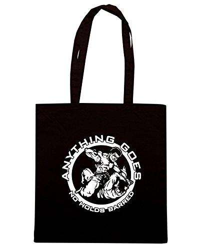 T-Shirtshock - Bolsa para la compra T0136 ANYTHING GOES VALE TUDO arti marziali Negro