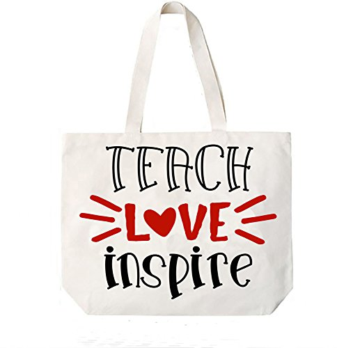Teach Love Inspire Teacher Canvas Tote Book Bag Teacher Appreciation