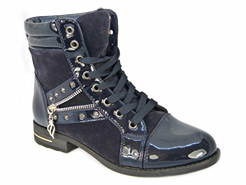 Damen Biker Damen S0 Stiefeletten Navy Lace 4 Zip Schuhe Up Arbeit Größe Armee Stud niedrige Ferse Ad4wU