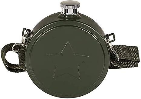 dkt Cantimplora Diseño Militar de Acero Inoxidable. Verde Oscuro. 530 ml. 1 Unidad
