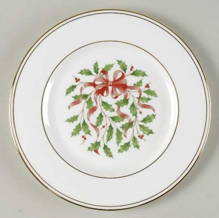 Lenox Holiday Snow Holly Gold Salad Plate