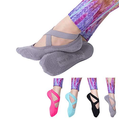 LIBRUONE Yoga Socks Non Slip Skid Pilates Barre Ballet 4 Pack Socks Grips Cotton Women …