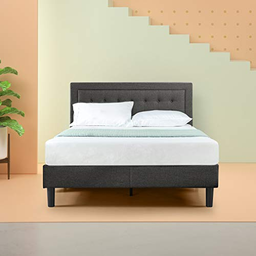Zinus Upholstered Button Tufted Premium Platform Bed / Strong Wood Slat Support / Dark Grey, Queen