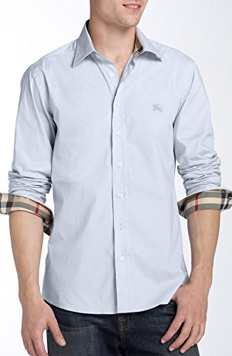 Burberry Brit Men's Light Blue Henry Trim Fit Stretch Cotton Logo Sport Shirt (S)