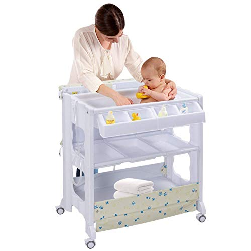 Costzon Baby Bath and Changing Table, Diaper Organizer for Infant with Tube & Cushion -