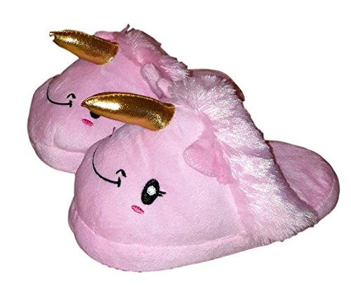 Children Kids Girls Unicorn Plush Slipper (Large (4-5), Pink)