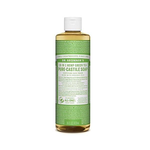 Dr. Bronner's Organic 18-in-1 Hemp Green Tea Pure-Castile Liquid Soap, 473 ml
