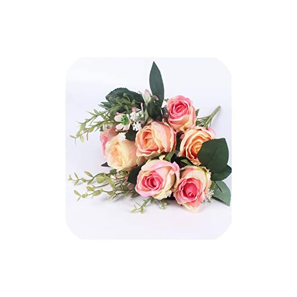 Spring Style 7 Heads Rose Bouquet Wedding Decorative Flower Silk Artificial Flower Peony with Glass 12 Branch 7 Colors,Pink