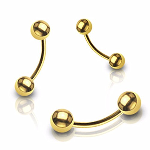 Freedom Fashion Gold Plated Over 316L Surgical Steel Curved Barbell