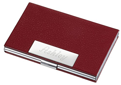 Personalized Samantha Red Leather Business Card Case for Women