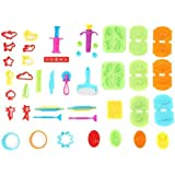 Ludos Play Dough Tools Set- 37 Pieces PlayDough Accessories of Cutters, Rolling Pins, Rollers, Food, Dinosuar Toy Molds for Toddlers and Kids. Mini Playdough Party Pack
