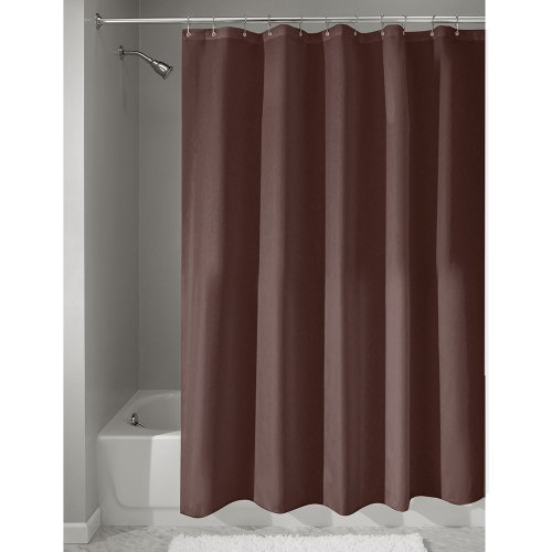 InterDesign Fabric Shower Curtain, Modern Mildew-Resistant Bath Liner for Master Bathroom, Kid's Bathroom, Guest Bathroom, 72 x 72 Inches, Brown (Curtain Shower Brown)