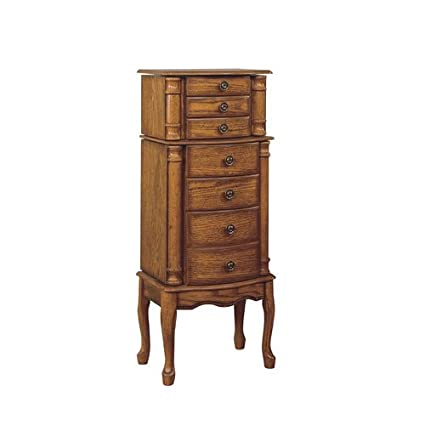 "Powell Woodland Oak Esquire Jewelry Armoire Color:Distressed ""Woodland Oak""; Black lining"