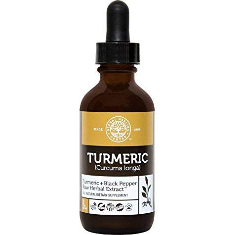 Center Liquid - Global Healing Center All Natural Turmeric Liquid Raw Herbal Extract Supplement with Black Pepper for Maximum Absorption - Made from Organic Turmeric Root Curcuma Longa (2 Ounces)