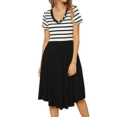 (NEARTIME Striped Short Dress for Women V-Neck Patchwork Casual Loose Skirts Short Sleeve Midi Dress with)