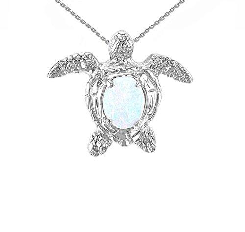14k White Gold Sea Turtle White Stone Shell Pendant Necklace, - Turtle Gold White