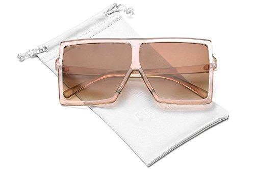 81af7bbf75 GRFISIA Square Oversized Sunglasses for Women Men Flat Top Fashion Shades  (clear orange tea