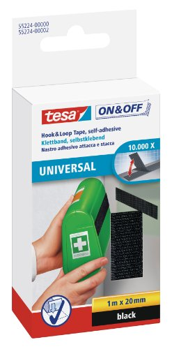 Tesa On and Off General Purpose Hook and Stick On Tape – 20mm x 100cm, Black