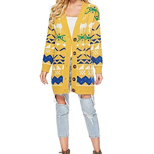 Linlink Mujeres Punto impresión V Cuello Largo botón Manga suéter Suelto Jersey: Amazon.es: Ropa y accesorios