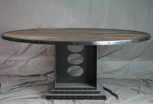 Vintage Industrial Round Dining Table – Reclaimed Wood Conference Table – Urban Style Office – Industrial Office…