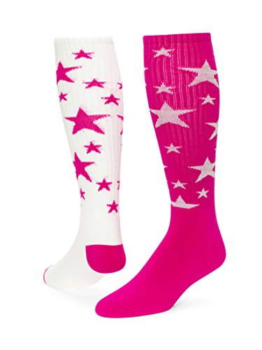 Red Lion Pair and Spare Star Mix Or Match Athletic Socks ( Neon Pink / White - Medium )