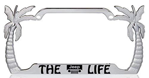 - The Jeep Life Palm Tree Design Chrome Metal Auto License Plate Frame Car Tag Holder