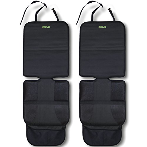 Car Seat Protector, Black (2-Pack) by Drive Auto Products - Best Protection for Child & Baby Cars Seats, Dog Mat - Ultimate Cover Pad Protects Automotive Vehicle Leather or Cloth Upholstery