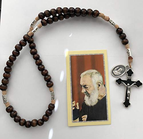 (Saint Padre Pio Brown Wood Bead Rosary with Silver Tone Cross Our Fathers)