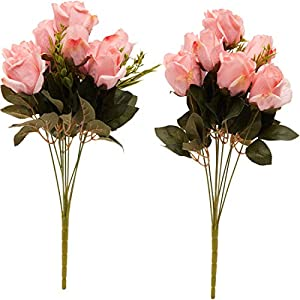 Juvale 2-Pack Artificial Flowers Silk Rose Bouquet with Stems for Wedding Decor and Crafts, Pink, 18 Heads 22