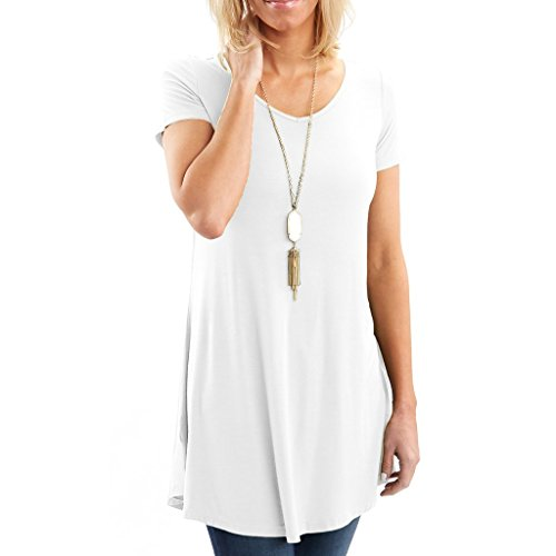 Tunic Cotton Boatneck - Posh Women's Short Sleeve V-Neck Tunic with Flare Style Hem - Super Soft Loose Fit T-Shirt Tunic Top, Perfect Casual Blouse for Leggings & Jeans- XX-Large - White