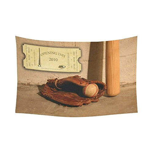 ROBIN GREEN Sports Home Decor Wall Art, Vintage Ticket Baseball Tapestry Wall Hanging Art Sets 90 X 60 Inches