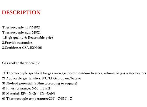 MENSI 24'' Propane BBQ Grill, Firepit, Fireplace Heater Universal Gas Thermocoupler Sensor M8x1 Thread