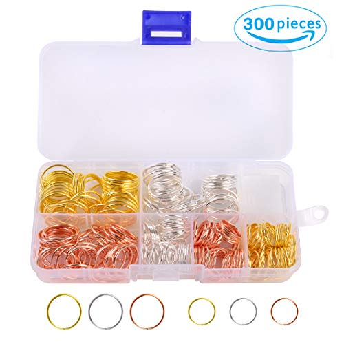300 Pieces Braiding Rings Hair Rings Dreadlock Ring Hair Hoops Hair Loop Clips for Braids (3 Colors Gold/Silver/Rose Gold, 2 Sizes 14mm/18mm) by Messen -
