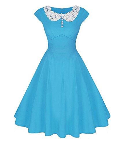 Bagliore linea Donne Vestito Elegante Merletto Un Collo Delle Dantiya Retro Del Blu qnpIv0w6