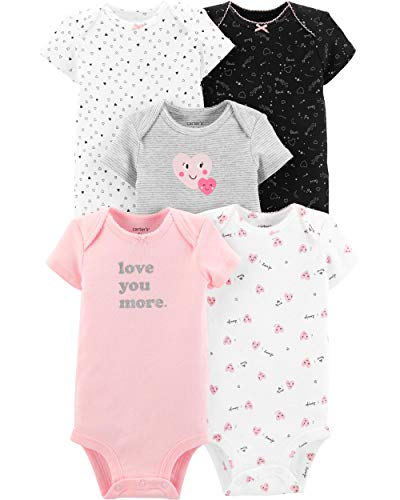 Carter's Baby Girls' 5 Pack Bodysuits (Ivory/Pink/Hearts, 24 Months)