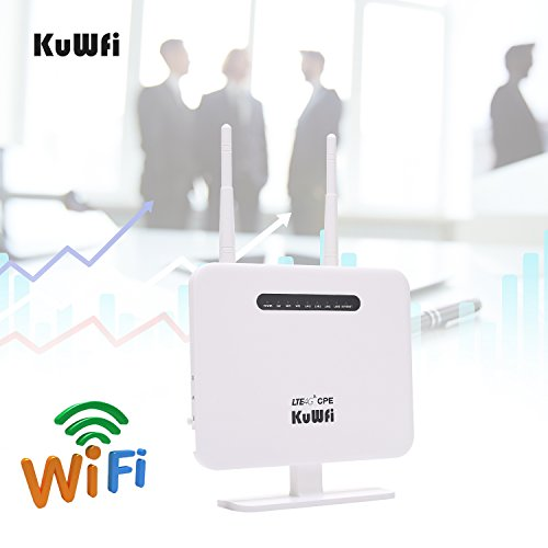 Price comparison product image KuWFi 4G LTE SIM Router, 300Mbps Unlocked 4G LTE CPE Wireless Router 3G 4G 150Mbps CAT4 Mobile WFi Hotspot with SIM Card Solt for USA / CA / Mexico with B2 / B4 / B5 Network Band US Version AT&T, T Mobile