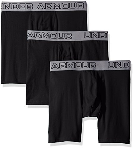 "Under Armour Men's Charged Cotton Stretch 6"" Boxerjock 3-Pack, Black/Black, X-Large"